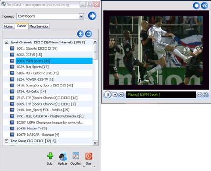 Sopcast screenshot
