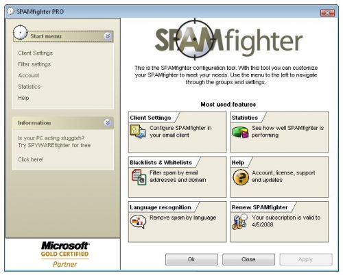 SpamFighter gratis